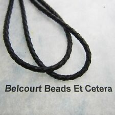 15 Feet Black Coated 3mm Round Braided Genuine Leather Lace Bolo Cord
