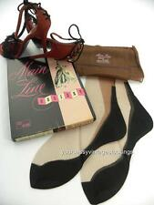 SASSY 3 Pr MAIN LINE 51/15 BLACK FOOT SEAMED FF Vintage Nylon Stockings  8.5/32""