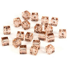 20pcs Water red 6mm Faceted Square Cube Cut glass crystal Spacer beads