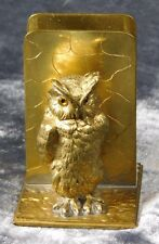 VTG GERMAN BRASS GLASS BIG EYE OWL FIGURAL MATCH BOX HOLDER
