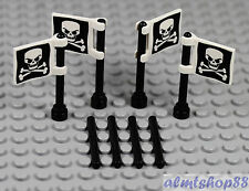 LEGO - 4x Pirate Flag Poles Jolly Roger Evil Skull Minifigure Accessories Ship