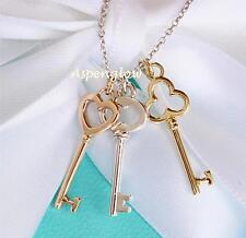 RARE AUTH TIFFANY & CO 18K ROSE & YELLOW GOLD STERLING 3 KEYS PENDANT NECKLACE