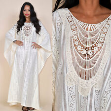 Ivory Draped Boho Gypsy Resort Festival Maxi Dress Gown Caftan OS