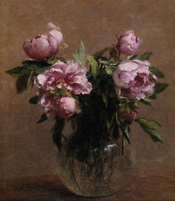 Beautiful Oil painting Henri Fantin Latour - Vase of Peonies flowers in vase