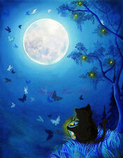 Blue Butterfly Lantern Cat Painting Print ~ Night Light Moon Magic Giving Tree