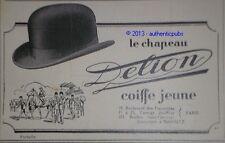 PUBLICITE 1926 DELION CHAPEAUX CHAPELIER  ORIGINAL FRENCH AD HAT