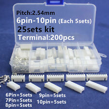 25sets 6p 7p 8p 9p 10 pin 2.54mm Pitch Terminal+Housing+Pin Header Connector