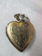 VIntage etched Heart shape Locket 1/20 10K on Sterling