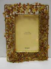 "Amber Gold  Beaded Picture Frame By Pier 1 Imports 4"" x 6"" Gift Boxed"
