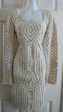 NWT $1040 CATHERINE MALANDRINO BEIGE CUT OUT LAMB LEATHER  DRESS 10 M