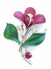 Flower Brooch Silver Plated Red Clear Crystal Burgundy Enamel Pin Mothers Day