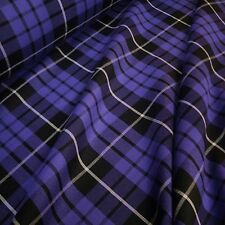 Purple & Black Poly-Viscose Tartan Fabric White Grid *Per Metre