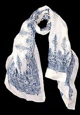 B70 Ivory French Dark Blue Scroll Print Shawl Wrap Scarf Boutique