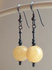 Beautiful Yellow Creamy Topaz Gemstones Oxidized Sterling Silver Earrings