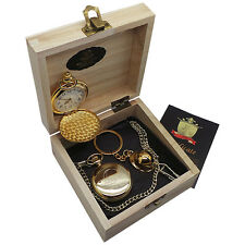 HARD HAT Gold Pocket Watch Keyring BUILDER CONSTRUCTION WORKER SURVEYOR Gift Set