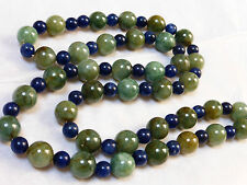 Vintage Chinese Lapis  & Jade Bead Necklace, Sterling Clasp
