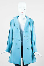 Marc Jacobs Light Blue Wool Paneled Double Breasted Long Sleeve Pea Coat SZ XS