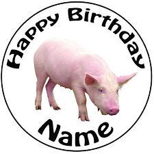 """Personalizado De Cumpleaños Granja-Cerdo Redondo 8"""" fácil Precortada Glaseado Cake Topper"""