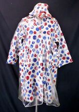 Vintage 60s Polka Dot Rain Coat & Matching HAT! (M) Blue/Red Slicker Jacket Mod