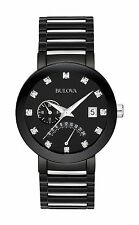 Bulova 98D109 Black IP Stainless-Steel Date Display Diamond Accented Watch