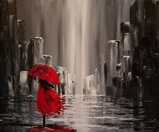"Canvas Abstract Painting Red Umbrella Print Wall Art Modern Picture 20""x24"""