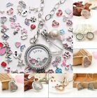 Gold/Silver Floating Living Memory Glass Locket Necklace Pendant Chain Jewelry