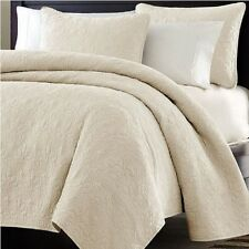 Bed In A Bag Oversized-3pc Quilted Coverlet Set, Ivory, KING Size Bed Cover NEW