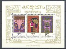 Germany**JUGENDSTIL/ART DECO PAINTINGS-SHEET 3stamps-1977-ART NOUVEAU-MNH