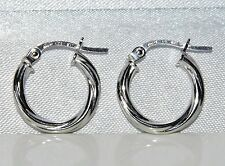 BEAUTIFUL 9 CT WHITE GOLD TWISTED CREOLE HOOP EARRINGS