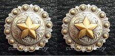 "Set of 2 WESTERN SADDLE ANTIQUE GOLD STAR BERRY CONCHOS 1-1/2"" screw back"
