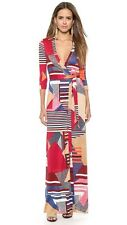 Diane von Furstenberg Abigail Diamond Stripe Collage Dress US10 UK14 DVF MAXI