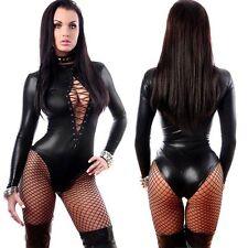 Sexy Women PVC Faux Leather Wet Look Lace Up Bodysuit Jumpsuit Teddy Lingerie