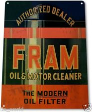 "TIN SIGN ""Fram Oil"" Filter Cleaner Gas Metal Decor Greasy Auto Shop Garage A067"