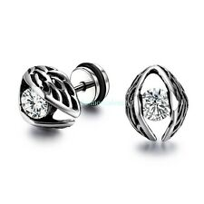 Stainless Steel Big Eye w/ Clear  Zircon Men's Women's Stud Earrings Screw Back