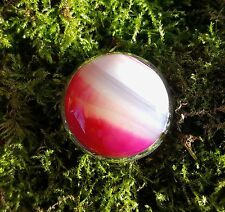 SterlingSilver/925 Ring Pink/white/transparent Agate gemstone round cabochon