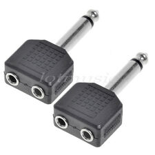 2pcs Audio 1/4' Mono Plug Male to Dual 3.5mm Stereo Jack Audio Adapter Splitter