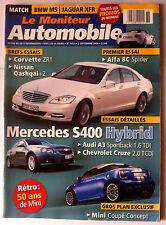 Le moniteur Automobile 2/09/2009; Corvette ZR1/ Nissan Qashqai/ Alfa 8C Spider