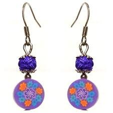 Boucles D'oreilles femme fimo millefiori petites fleurs VIOLETTES orange bleu