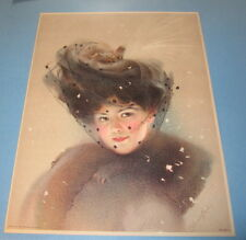 Old Vintage 1910 - Antique VICTORIAN PRINT - Fancy Lady w/ Veil - Snow Flakes