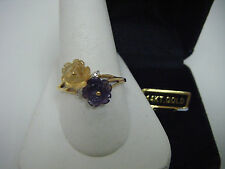 Beautiful Ladies 14k CITRINE & AMETHYST Carved Flower Ring Size 10  NEW & BOXED!