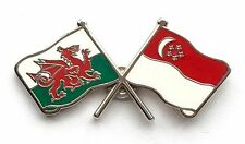 Wales & Singapore Flags Friendship Courtesy Enamel Lapel Pin Badge