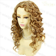 Lovely Stunning Long Curly Blonde mix skin top Versatile Hair Lady Wig WIWIGS UK
