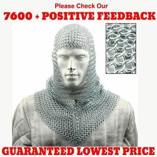 Aluminium Chain mail Coif V Neck Hood Medieval Chainmail Armour Larp Sca Costume