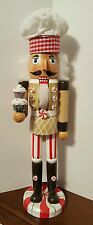 "Cupcake Baker Nutcracker Gingerbread Maker Chef Wooden 15"" Christmas NEW"