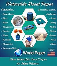 "Inkjet Clear Waterslide decal paper 10 sheet  8.5"" x 11"" :)"