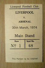 Tickets/ Stubs- 1974 LIVERPOOL v ARSENAL, 30th March