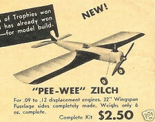 """Model Airplane Plans (UC): Berkeley PEE-WEE ZILCH 32""""ws OT Stunt for .09-.12ci"""