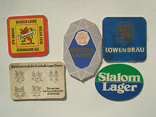 """FIVE BEERMATS FROM THE 1970s SLALOM GRUNHALLE """"CAMERON'S ICEGOLD"""" LOWENBRAU"""