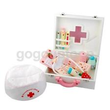 Children Wooden Doctor Nurse Set Pretend Play Game Medical Kit for Kids