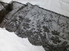 Antique Spanish Chantilly lace edging trim black 1.65m